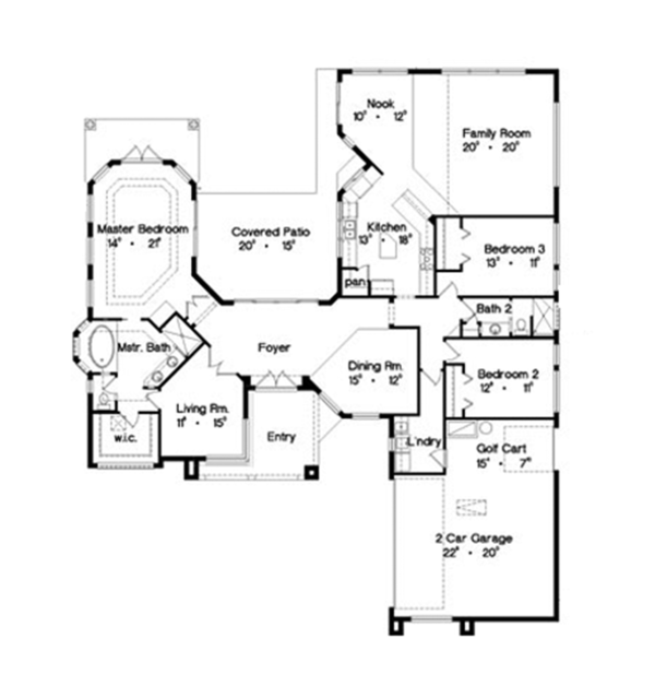 Mediterranean Floor Plan - Main Floor Plan Plan #417-805