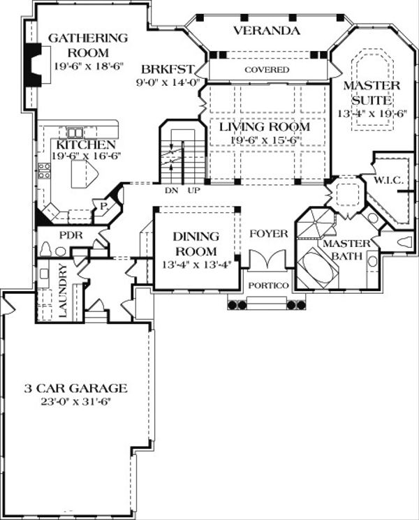 Colonial Floor Plan - Main Floor Plan Plan #453-17