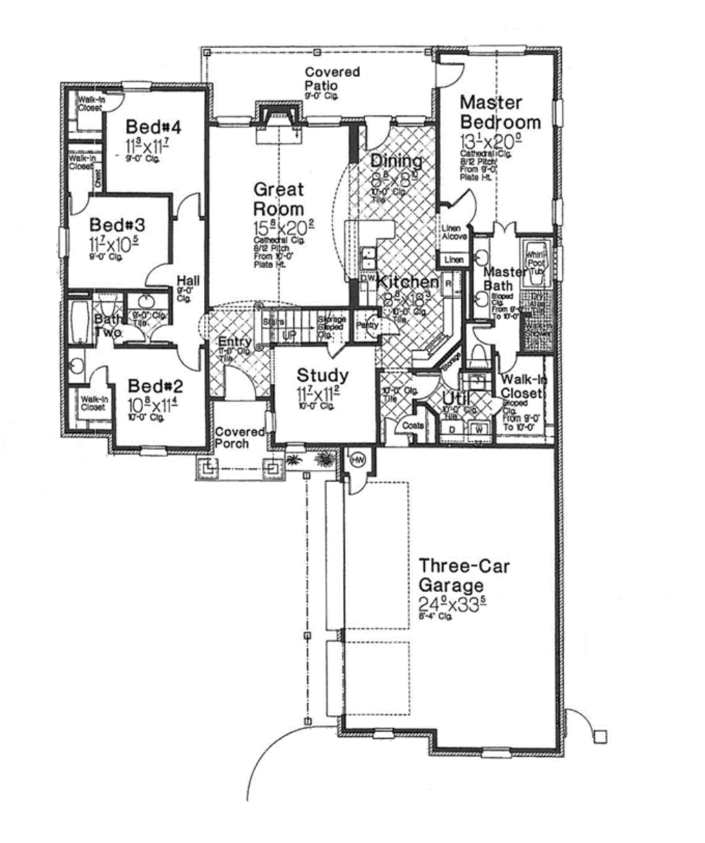 European Style House Plan 4 Beds 2 Baths 2130 Sq Ft Plan
