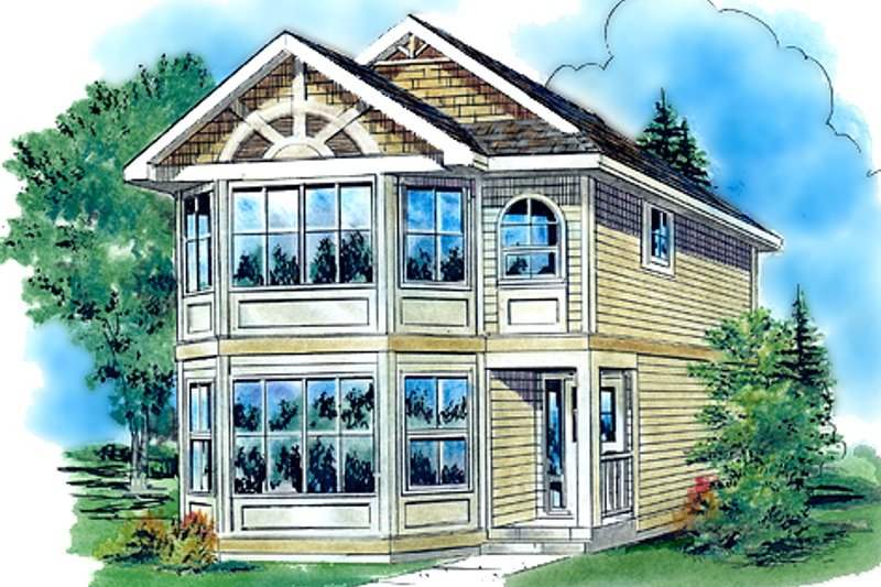 Colonial Style House Plan - 3 Beds 3 Baths 1121 Sq/Ft Plan #18-2005 Exterior - Front Elevation