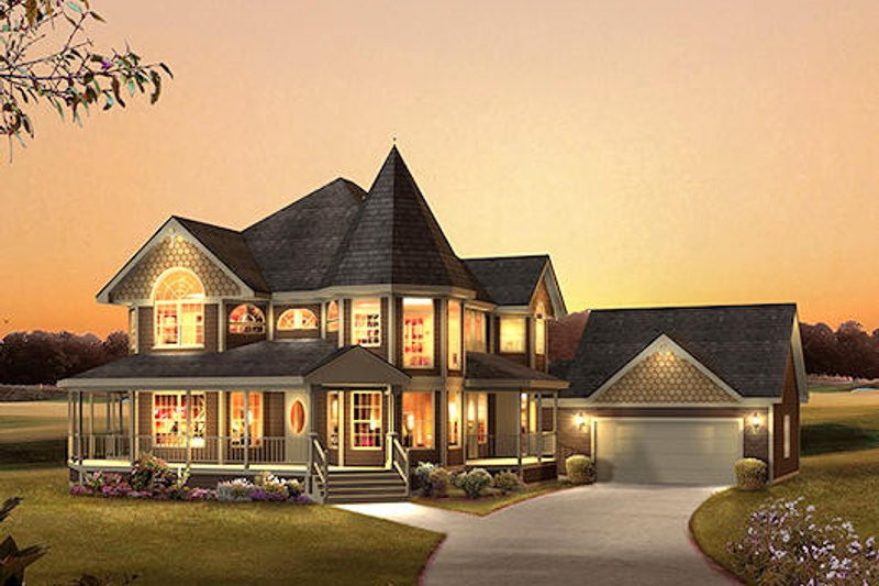Victorian Style House Plan - 4 Beds 2.5 Baths 2560 Sq/Ft Plan #57-548 Exterior - Front Elevation