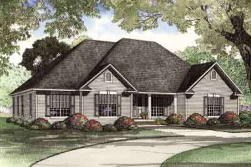 Traditional Style House Plan - 4 Beds 3 Baths 2405 Sq/Ft Plan #17-637 Exterior - Front Elevation