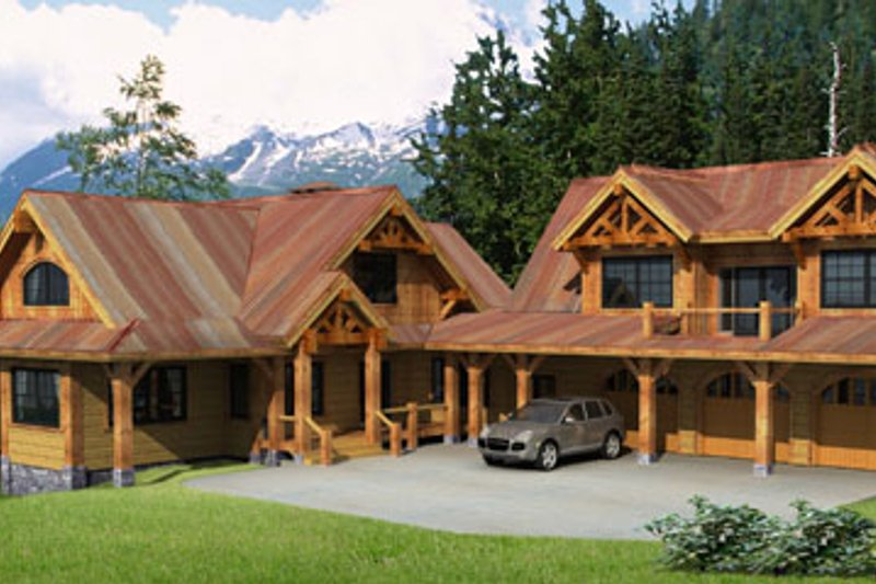 Craftsman Style House Plan - 4 Beds 4.5 Baths 4632 Sq/Ft Plan #451-14 Exterior - Front Elevation