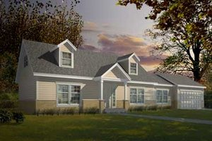 Colonial Exterior - Front Elevation Plan #100-407