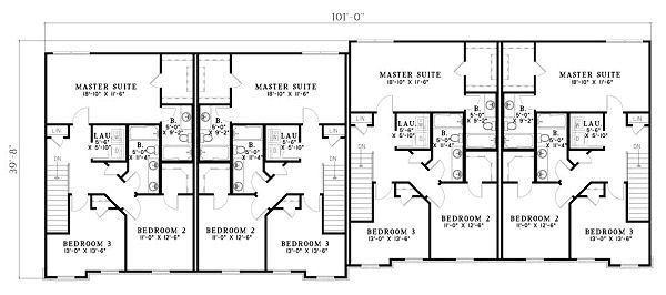 Traditional Floor Plan - Upper Floor Plan #17-1174