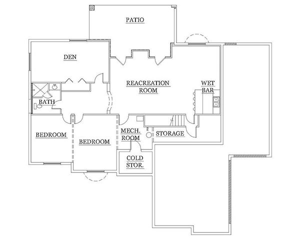 Architectural House Design - Traditional Floor Plan - Lower Floor Plan #5-246