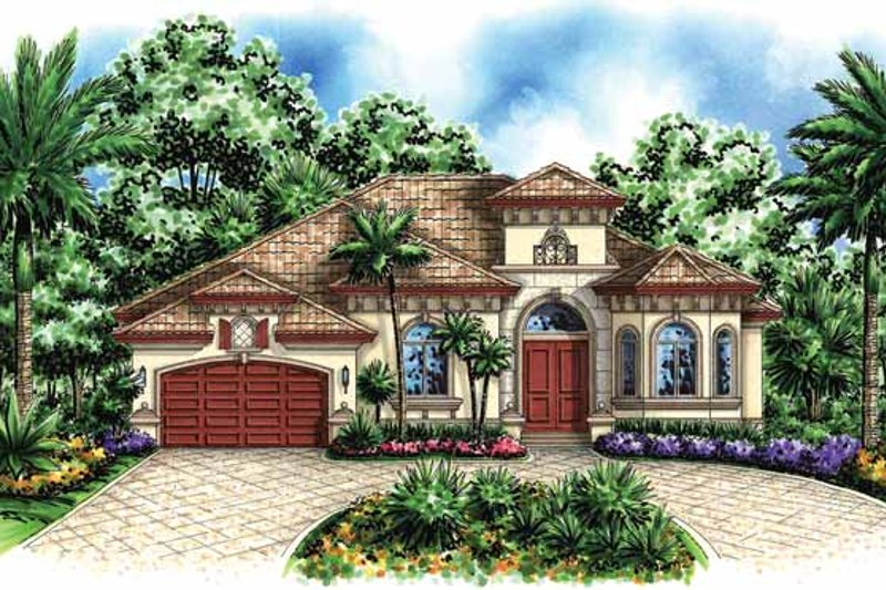 Dream House Plan - Mediterranean Exterior - Front Elevation Plan #1017-118