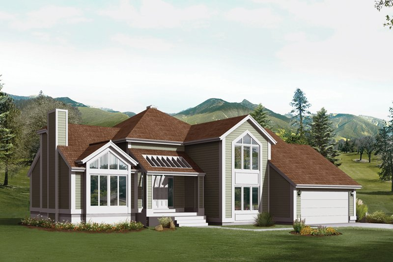 Dream House Plan - Contemporary Exterior - Front Elevation Plan #57-700