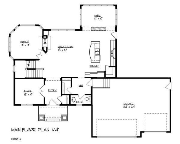 Home Plan - Craftsman Floor Plan - Main Floor Plan #320-491