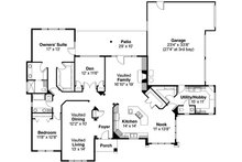 Mediterranean Floor Plan - Main Floor Plan Plan #124-352