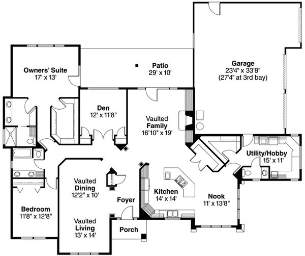 Mediterranean Floor Plan - Main Floor Plan Plan #124-352