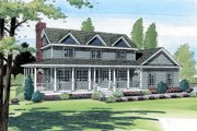 Country Style House Plan - 4 Beds 3 Baths 2356 Sq/Ft Plan #312-550 Exterior - Front Elevation