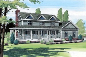 Country Exterior - Front Elevation Plan #312-550
