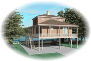 Beach Style House Plan - 3 Beds 2.5 Baths 1731 Sq/Ft Plan #81-13774 Exterior - Rear Elevation