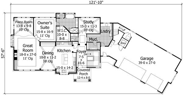 European Floor Plan - Main Floor Plan Plan #51-547