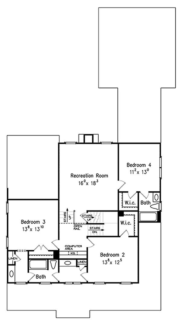 Farmhouse Floor Plan - Upper Floor Plan Plan #927-40