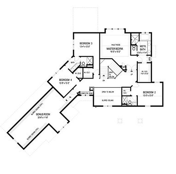 Traditional Floor Plan - Upper Floor Plan Plan #56-596