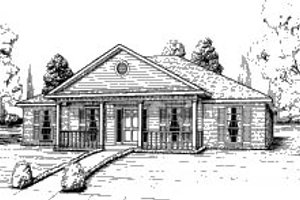 Southern Exterior - Front Elevation Plan #37-136