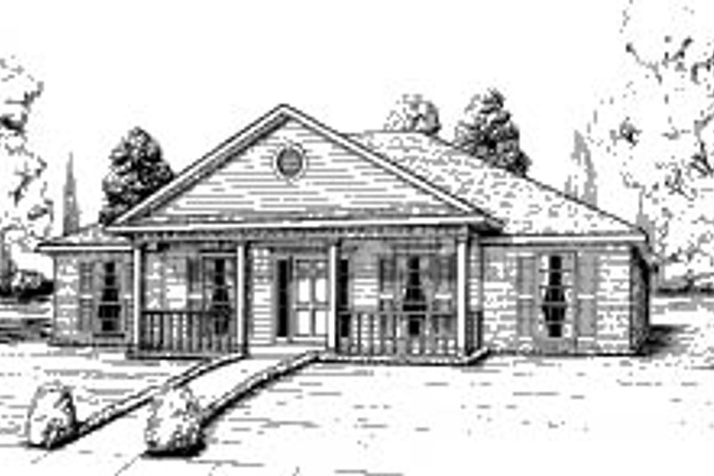 Home Plan - Southern Exterior - Front Elevation Plan #37-136