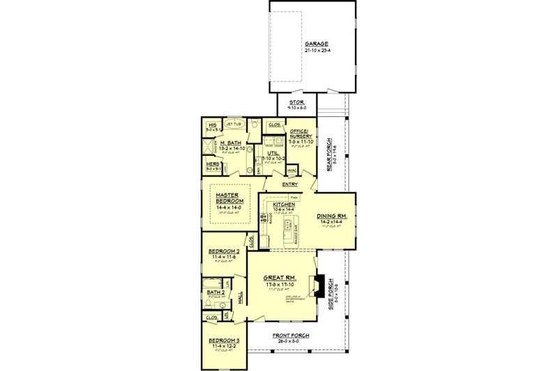 Country Floor Plan - Main Floor Plan Plan #430-56