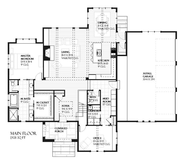 House Plan Design - European Floor Plan - Main Floor Plan #901-93