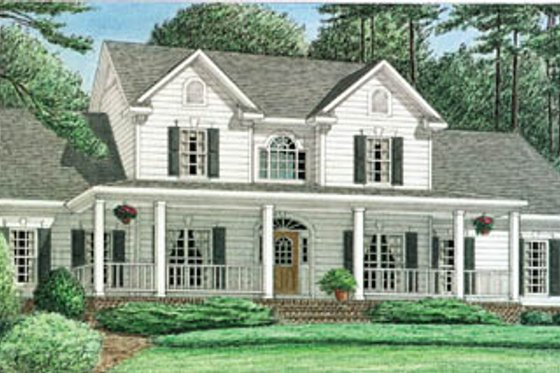 Southern Exterior - Front Elevation Plan #34-121