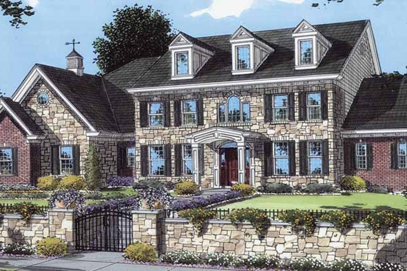 Colonial Exterior - Front Elevation Plan #46-814