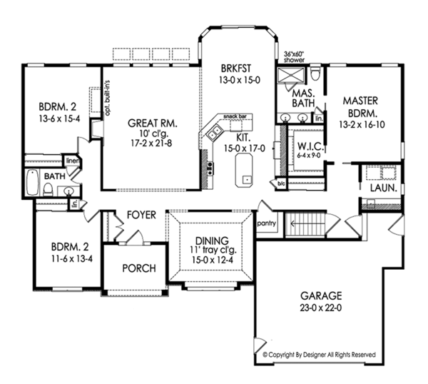 Ranch Floor Plan - Main Floor Plan Plan #1010-187