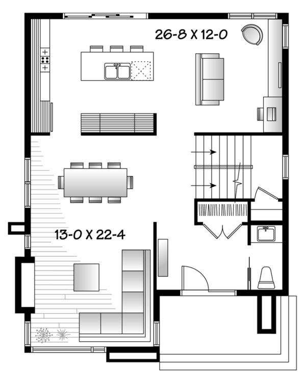Contemporary Floor Plan - Main Floor Plan Plan #23-2554