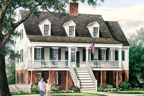 Colonial Exterior - Front Elevation Plan #137-373