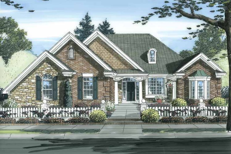 Cottage Exterior - Front Elevation Plan #46-826