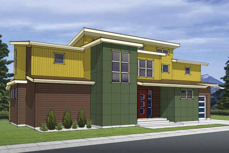 Dream House Plan - Contemporary Exterior - Front Elevation Plan #569-25
