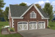 Colonial Style House Plan - 1 Beds 1 Baths 750 Sq/Ft Plan #56-551 Exterior - Front Elevation