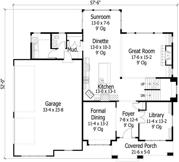 Craftsman Floor Plan - Main Floor Plan #51-424
