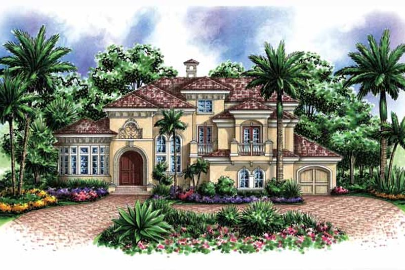 Mediterranean Exterior - Front Elevation Plan #1017-155