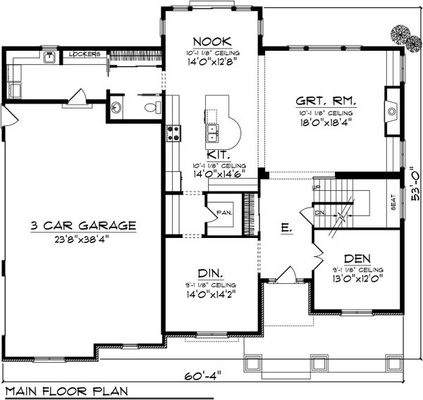 Traditional Floor Plan - Main Floor Plan Plan #70-1038