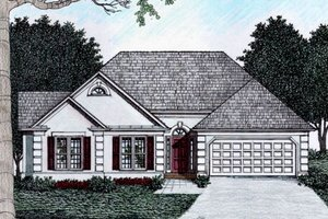Home Plan - Mediterranean Exterior - Front Elevation Plan #129-112
