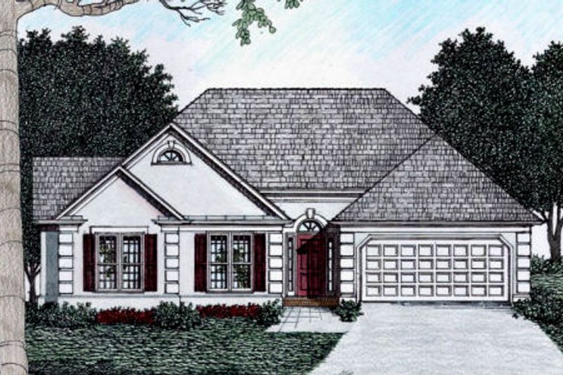 Mediterranean Style House Plan - 3 Beds 2 Baths 1461 Sq/Ft Plan #129-112 Exterior - Front Elevation