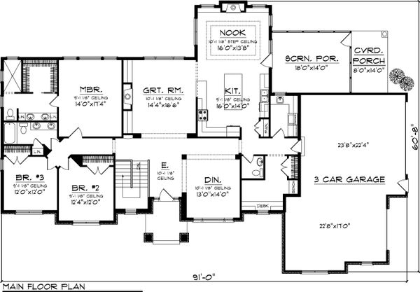 Ranch Floor Plan - Main Floor Plan Plan #70-1057