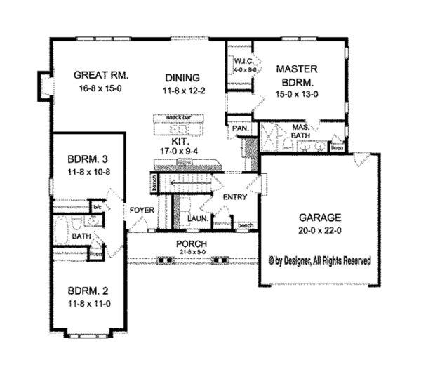 Ranch Floor Plan - Main Floor Plan Plan #1010-98