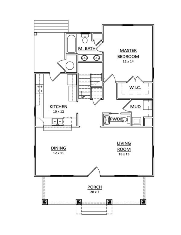 Craftsman Floor Plan - Main Floor Plan Plan #936-11