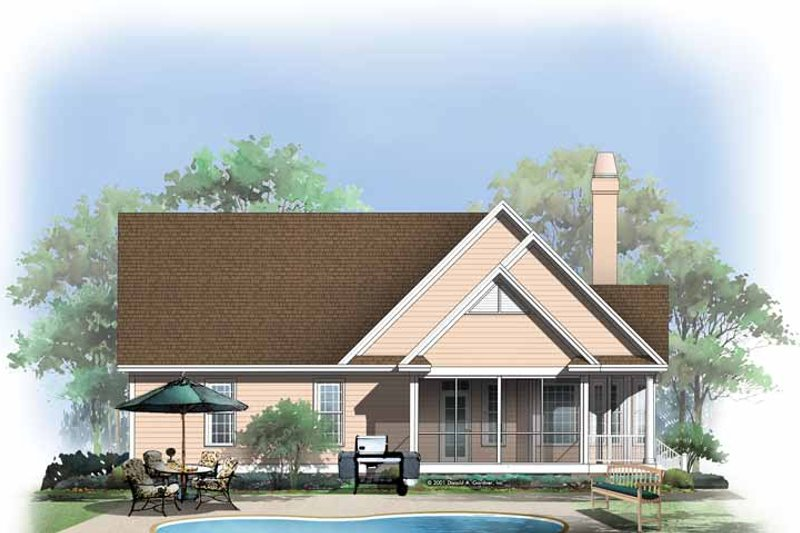 Dream House Plan - Country Exterior - Rear Elevation Plan #929-644