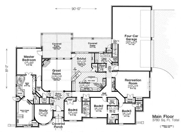 European Floor Plan - Main Floor Plan Plan #310-1295
