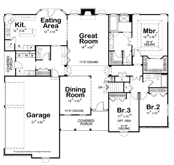 Dream House Plan - Traditional Floor Plan - Main Floor Plan #20-2244