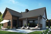Contemporary Style House Plan - 2 Beds 1 Baths 1212 Sq/Ft Plan #23-2316 Exterior - Rear Elevation