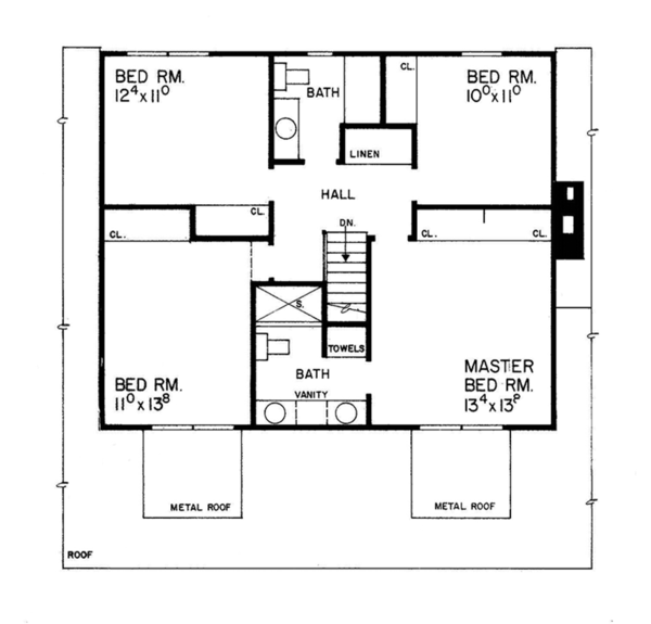 Country Floor Plan - Upper Floor Plan Plan #72-719