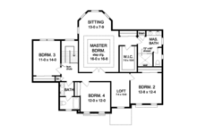Traditional Floor Plan - Upper Floor Plan Plan #1010-172
