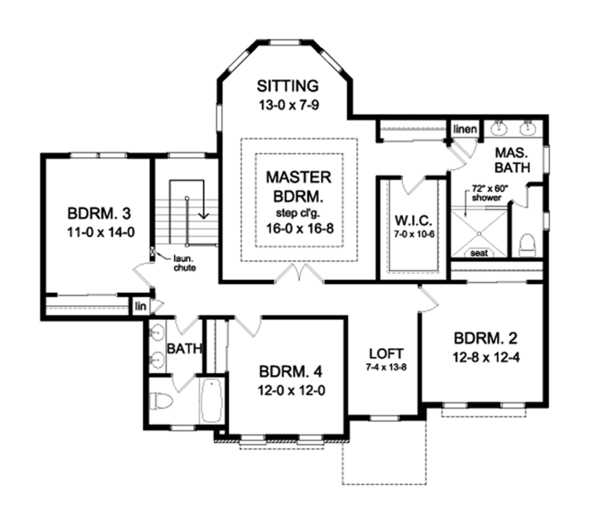 House Plan Design - Traditional Floor Plan - Upper Floor Plan #1010-172