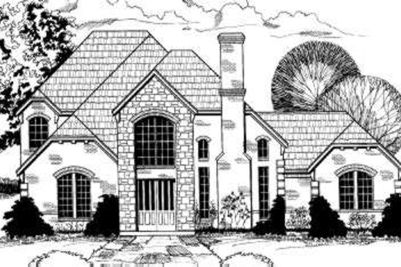 European Style House Plan - 5 Beds 4 Baths 3794 Sq/Ft Plan #317-128 Exterior - Front Elevation