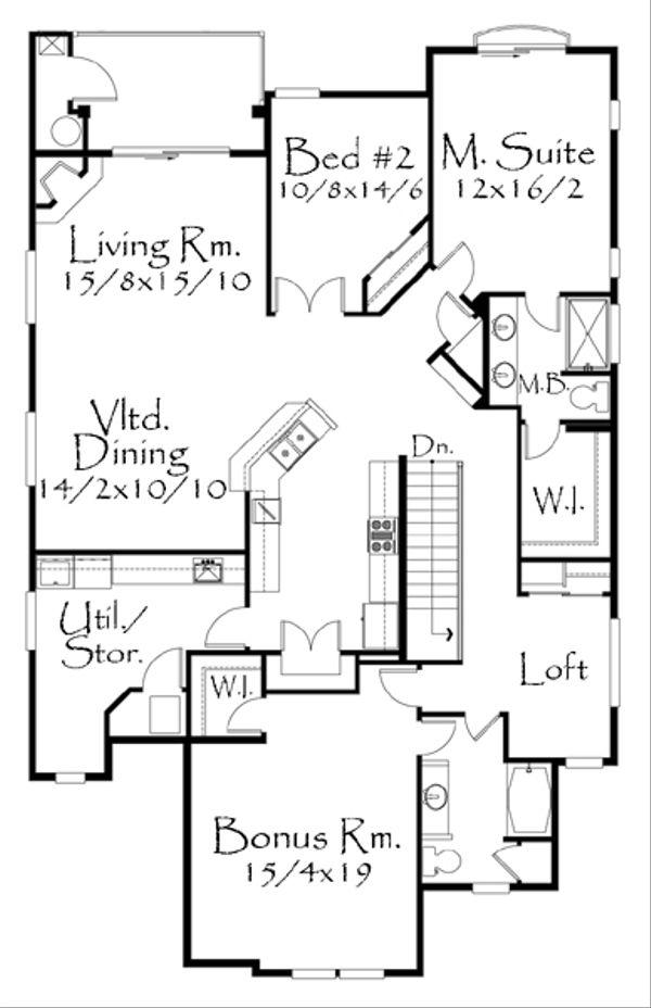 Tudor Floor Plan - Upper Floor Plan Plan #509-19